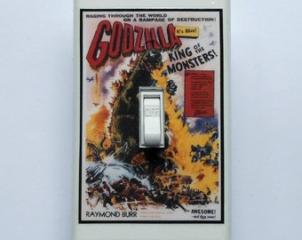 Classic science fiction movie posters- Single plates & MATCHING SCREWS- Horror movie H.G. Wells stories vintage sci fi art Godzilla monsters