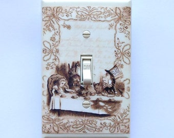 Single & double switch covers- Mad Tea Party Switch plates- MATCHING SCREWS- Alice in Wonderland art Alice posters Alice switch cover plates