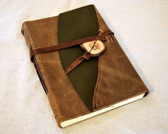 Large Sage Green Leather Journal with Lined Paper
