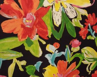Outdoor Fabric ELBERTA FRANCO JET Large Floral Bright Vibrant Color on Black Patio 2/3 yard Home Decor Fabric for Creative Genius Projects