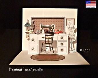 Sewing room miniature Pop-Up Card - Item 1351 Blank Inside Hobby card