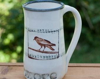 Edgar Allan Poe Inspired Nevermore White Mug by Bunny Safari