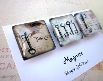 Square Glass Magnet set - Keys