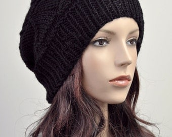 hand knit woman hat wool Hat Black hat Beanie - ready to ship