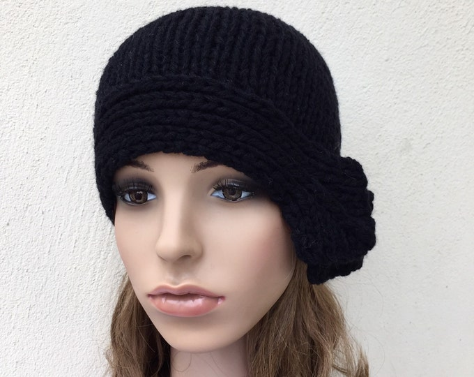 Hand Knit Hat Beret Hat with side band in Black