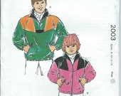 Kwik Sew 2003 - Boys' and Girls' Jackets - Size 8-10-12-14 - Uncut Vintage Pattern