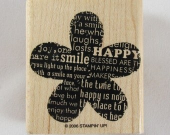 Happy Flower Stampin Up! Rubber Stamp #RS250