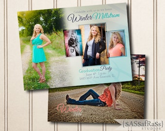 The Winter--5x7 ADOBE PHOTOSHOP Graduation Announcement Template for Photographers, DIY, Graduation Party, Open House