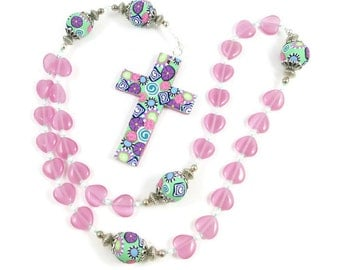Anglican Prayer Beads Women Older Teen Girls Rosary Pink Cat's Eye Hearts Handmade Polymer Clay Cross Religious Gift Protestant Gift