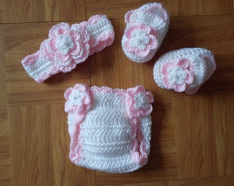Baby Girl Infant Girl Crochet Headband Hairbow Booties Diaper Cover Baby Shower Gift Photo Prop 10001 MADE TO ORDER