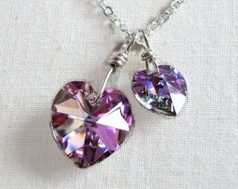 Light Vitral Crystal Heart Necklace - Big Love Little Love - created with SWAROVSKI® Crystals
