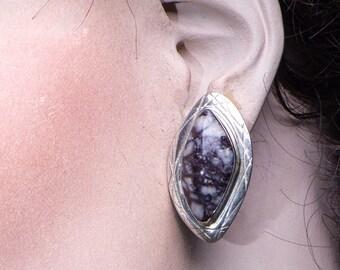 Wild Horse Turquoise Earrings - Southwestern Sterling Posts - Jay King Retired