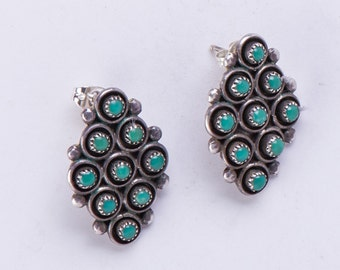 Zuni Snake Eye Earrings - Sterling Turquoise Post Earrings - 60s
