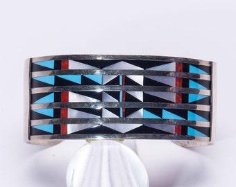 Estate Zuni Geometric Inlay Sterling Cuff Bracelet - Lalio