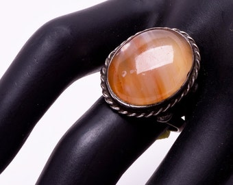 Pink Agate Sterling Ring - Early Navajo - sz 8 Adjustable