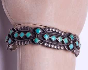Zuni Turquoise Bracelet - 40s Petitpoint Cuff - Sterling Carved