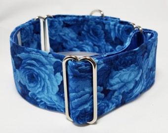 Blue Roses Greyhound, Whippet, Galgo, Sighthound, Dog Martingale Collar