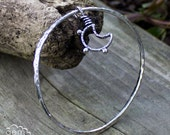 Sterling silver bohemian handforged bangle with Moon charm - Turning Tides -