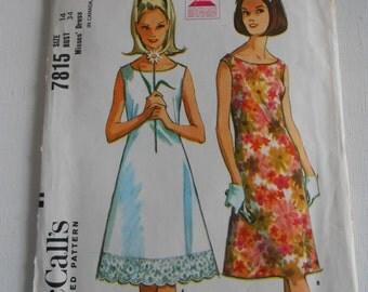 McCalls 7815 Vintage 60s A Line Sleeveless Dress Pattern Size 14 Bust 34