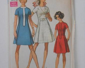 Vintage 60s Princess Seam Dress Pattern Simplicity 8088 Size 14 Bust 36 UNCUT