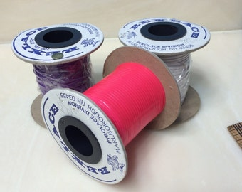 3 rolls of Rexlace -Pink, Purple, White
