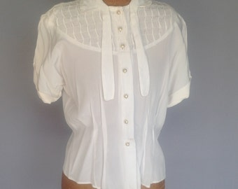 ON HOLD Vintage 50 White Blouse Silk Rayon Pearl Buttons 36-38