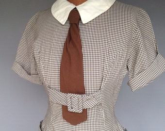 Vintage 40s Cotton Wiggle Dress Menswear Rare Style Brown and Cream Check Stunner S