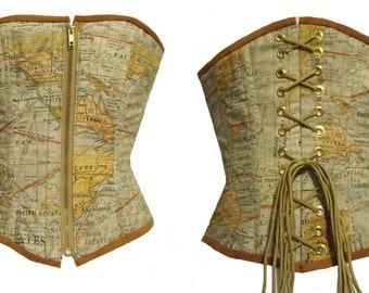 Steampunk Victorian Old World Map print steel boned over bust corset Size Medium