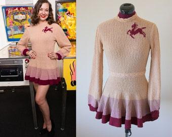 1940s hand knit ice skating dress