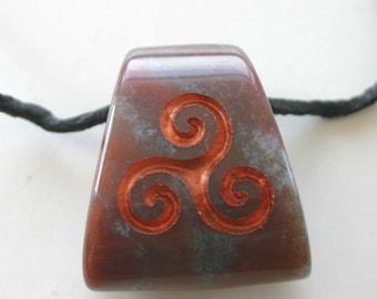 Triple Spiral Symbol Engraved Indian Agate Ladder Gemstone