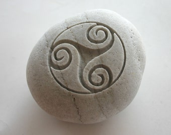 Triskele Engraved Stone Female Power Triple Spiral Celtic Symbol