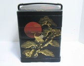 Vintage Japanese Bento Box Japan Lunchbox Birds Storks Sun Moon Lacquered Wood Lunch Box Asian
