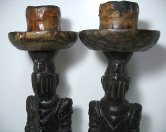 Vintage Knight Candlesticks Gothic Medieval Spainish Wood Folk Art Candle Holders Conquistador Witco Era