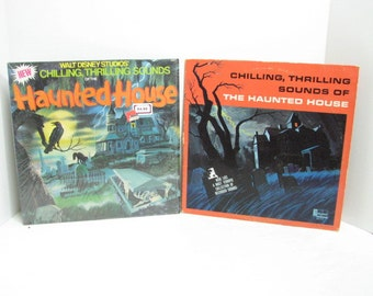 2 Disney Halloween Records, Haunted House Chilling Sounds, Scary Music, Vintage Vinyl LP