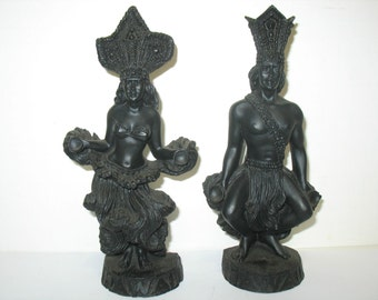 Vintage Pair Hawaii Hip Original Dancers Dancer Hawaiian Hula Girl & Man Figurines 1976