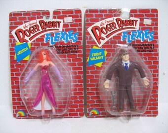 2 Vintage Who Framed Roger Rabbit Jessica & eddie Valiant Figure Flexies MOC Comic Movie 1988 Toy Doll Action Figures