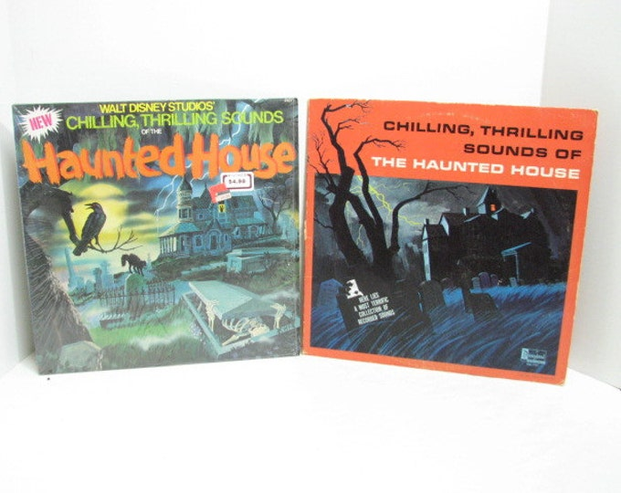 2 Vintage Disney Halloween Records, Haunted House Chilling Sounds, Scary Music Vinyl LP