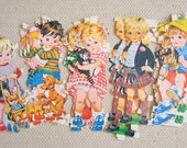 Vintage PAPER DOLL Cut Outs -- Early 1950s boys and girls with dog, cat,rabbit & hobby horse, Scottish kilt boy, scrapbooking supply