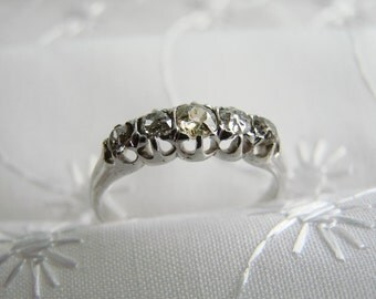 Antique White Gold DIAMOND WEDDING RING -- 1890s Wedding Ring, Unique like the Bride, For her Special Day