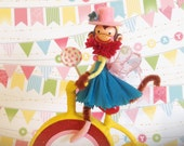 Girl Monkey on Bike Cake Topper/ Circus Centerpiece