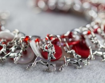 Reindeer Christmas Button Charm Bracelet / Red and White Fun Jewelry / Cheerful Holiday Piece by randomcreative on Etsy