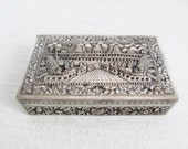 Stunning Cambodian Temple Silver Repousse Box Angkor Wat