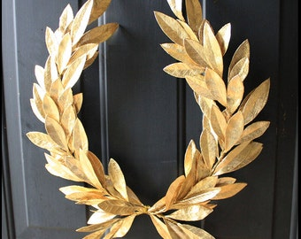 Year-round Gold Laurel Bay Leaf Crest Wreath Peace Victory Everyday Wedding Olympic Faux Artificial