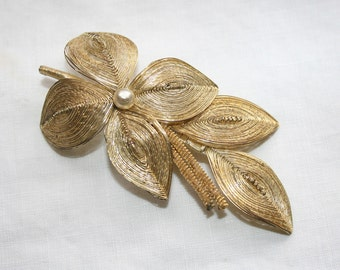 Vintage Gold Wire Brooch Pearl Floral Leaves Handcrafted Unique