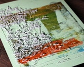 CLIFFHANGER | 70's style pacifc beach cityscape | autumn colors | artist silkscreen print by Kathryn DiLego