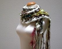 miles to go. art yarn scarf . handknit merino wool curly locks scarf . chunky knit cuddly soft scarf . winter white olive green brown rust