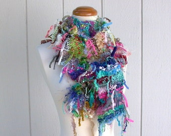 oh scrap. handknit scarf eco chic shaggy fringe scarf bohemian gypsy recycled knit boho fashion accessories rainbow wearable fiber art
