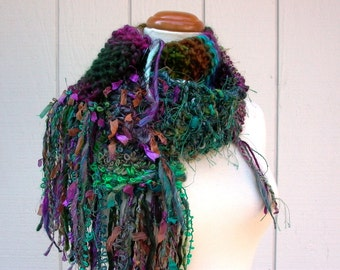 forest jewel. handknit art yarn scarf . knit fiber art scarf . handspun wool ribbons sparkle threads . pine green teal purple turquoise