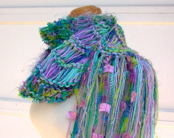 flamboyant. handknit scarf . long fringed boho scarf . knit art yarn scarf . vegan knitwear . turquoise aqua mint lavender neon yellow-green