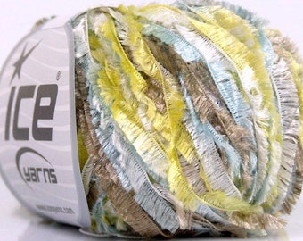 feather eyelash ribbon yarn . daybreak . boa fringe lurex ice yarn 92yds . yellow taupe light blue white shimmering specialty novelty yarn
